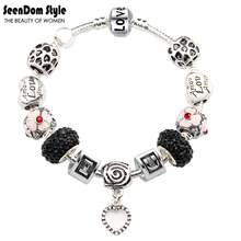 I Love You 925 Sterling Silver Dangle Heart CZ Diamond Crystal Beads Pulseira Enamel Flower Charms Bracelet Valentine's Gift(China (Mainland))