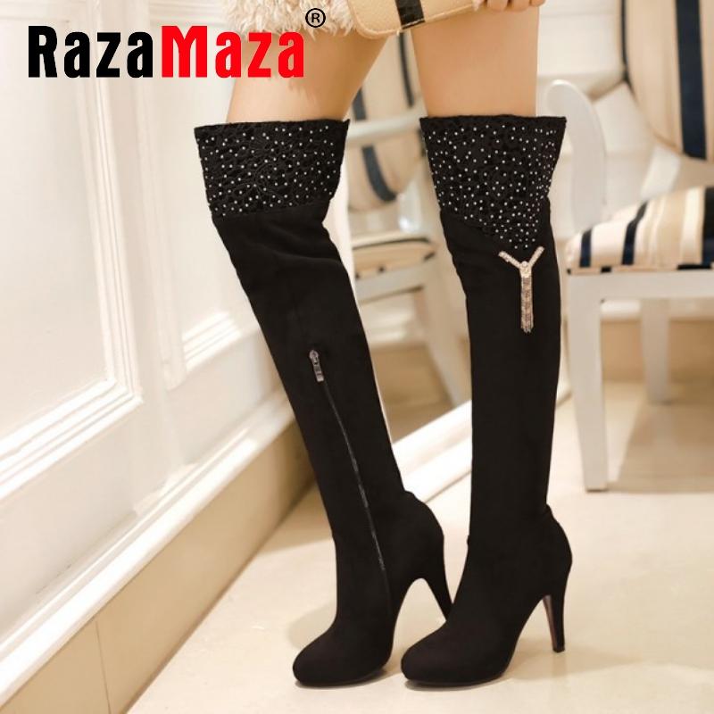 women high heel over knee boots ladies botas feminina fashion snow boot warm winter heels footwear shoes P19416 size 34-39<br><br>Aliexpress