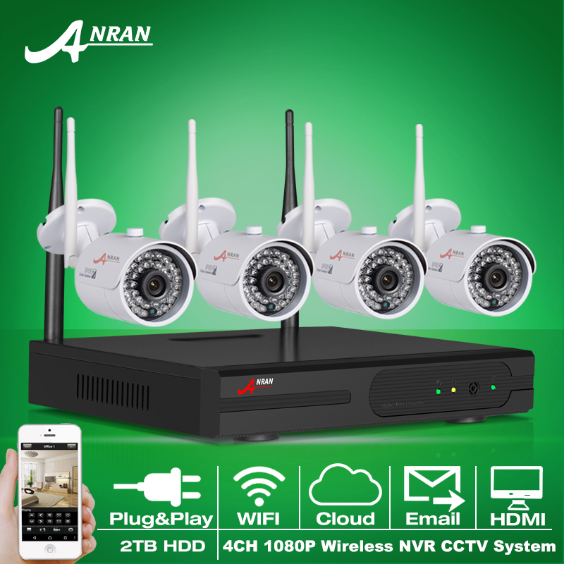 Plug And Play 4CH CCTV System WIFI NVR Kit P2P 1080P HD IR IP Camera WIFI Outdoor CCTV Camera Security System 2TB HDD(China (Mainland))