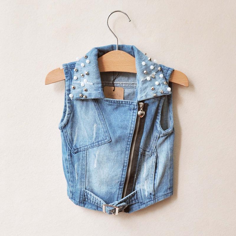 Wholesale-6pcs/lot,2013 new hot sale!! Korean girls high grade Pearl collar denim vest,free shipping.
