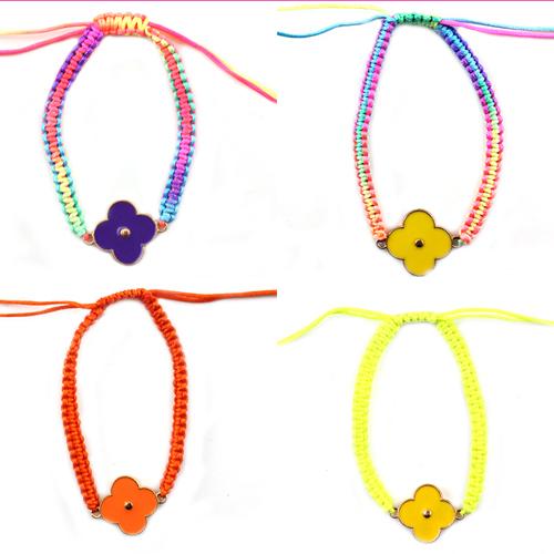 Free Shipping Wholesale Clover Neon Fluorescent Bracelet Flower Charm Bracelet For Girls and Women 12pcs/lot B1-092(China (Mainland))