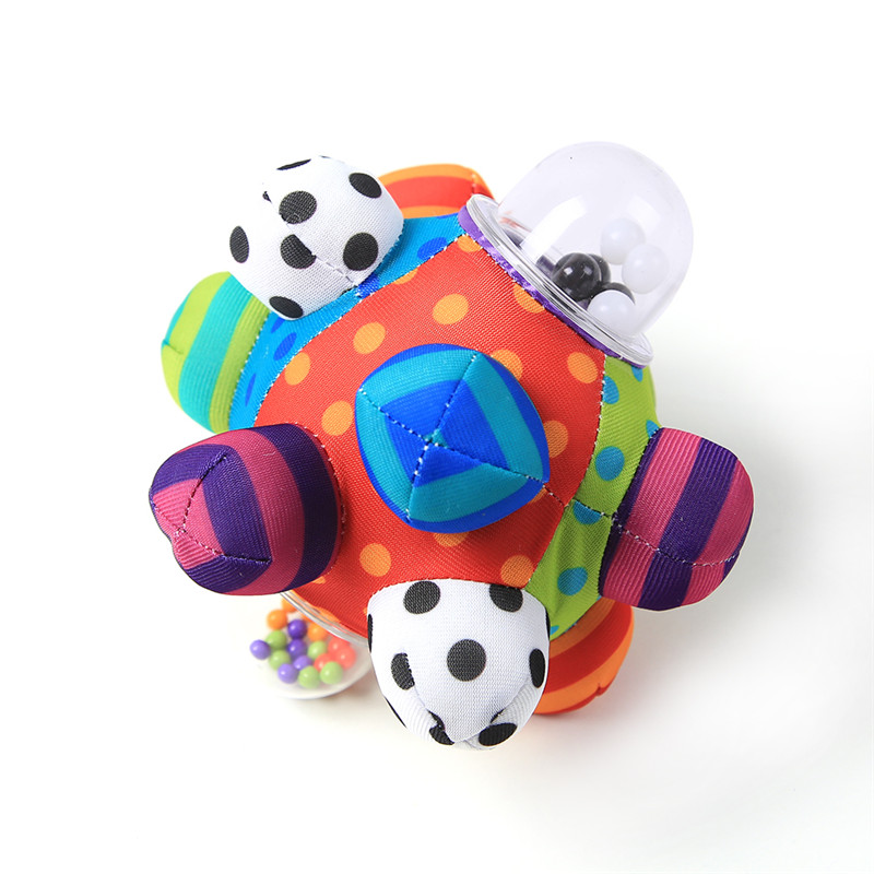 Baby Fun Pumpy Ball Cute Plush Soft Cloth Hand Rattles Bell Training Grasping Ability Toy For Baby Boys Girls Ring Toys(China (Mainland))