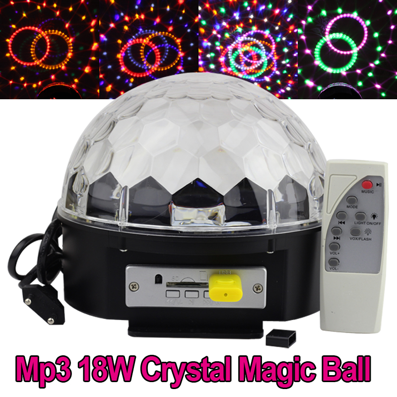Remote RGB LED DMX512 Stage Lights Crystal Magic Ball Lighting Effect Light For Party, Disco with MP3 function<br><br>Aliexpress