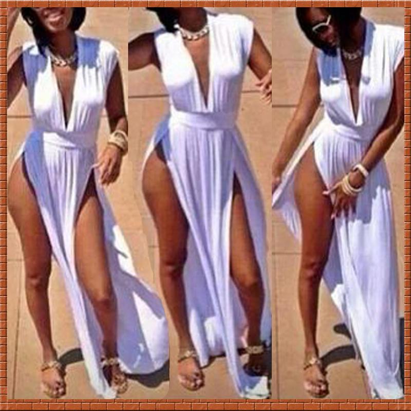 New fashion cotton sexy club dresses party slit dresses bandage white evening maxi dress novelty gowns vestidos de fiesta(China (Mainland))