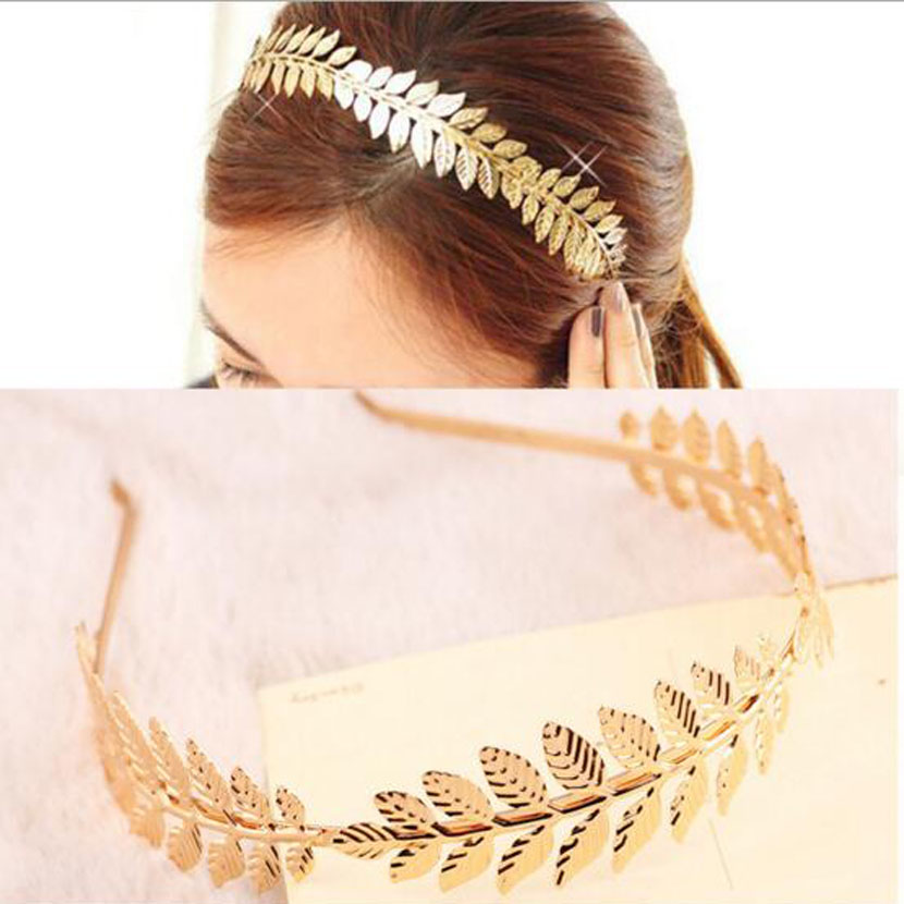 Baroque style Leaves Hair fashion band Wedding Hair Accessories Gold Plated Bridal tiara Head Wear headpiece Jewelry for women(China (Mainland))