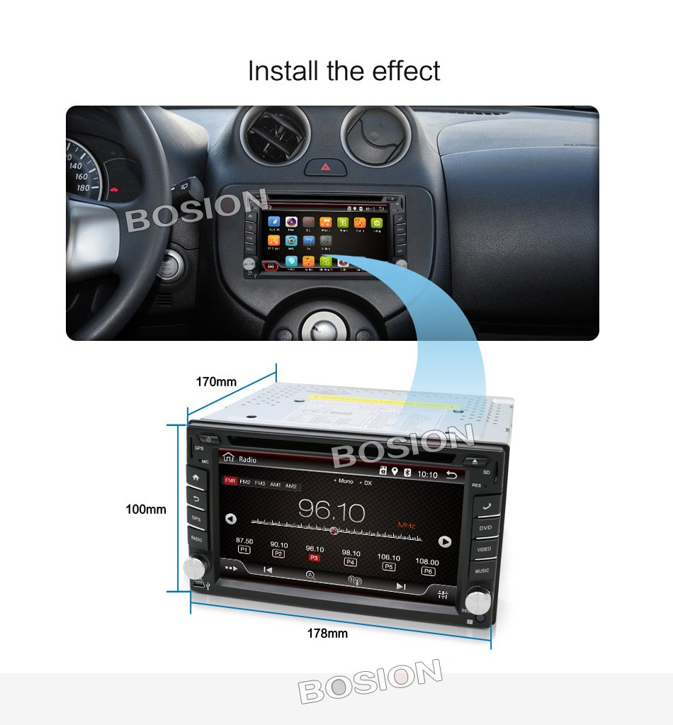 Auto map 2 Din Pure Android 4.4 Car DVD Player Navigation Stereo Radio GPS WiFi 3G CAPACITIVE Touch Screen USB Camera Car PC TV