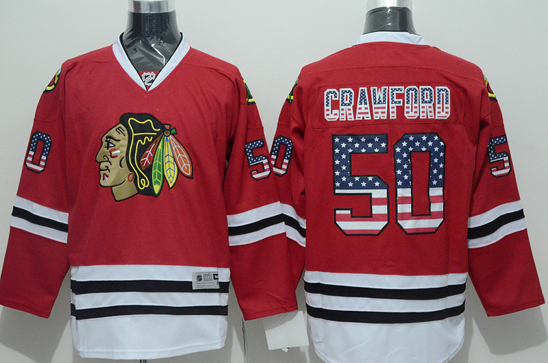 Chicago Black hawks #50 Corey Crawford Men's NHL Jersey Limited Flag Edition Ice Hockey Jersey 100% Stitched Logos Free Shipping