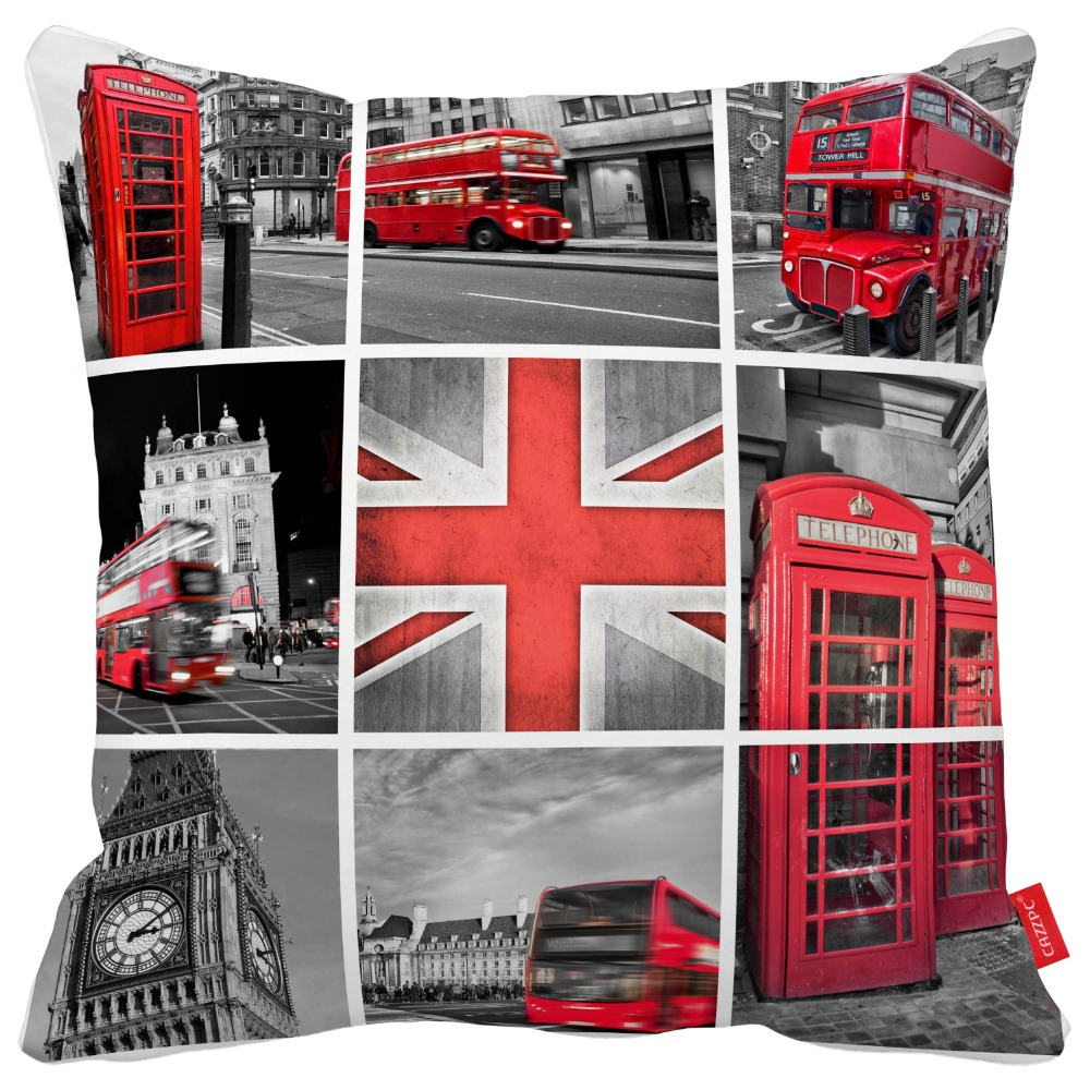 Vintage London Classics Photos Collage Print Throw Pillow