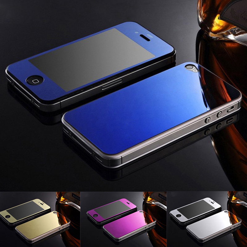 For iPhone 4 color film Front+Back Tempered Glass Mirror Effect Color Protective Film For iPhone 4 4s Case Screen Protector(China (Mainland))