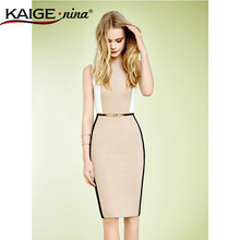 Kaige.Nina Women Summer Elegant Belted Hit color Patchwork Tunic Work Business Casual Party Bodycon Pencil Sheath Dress 2057(China (Mainland))