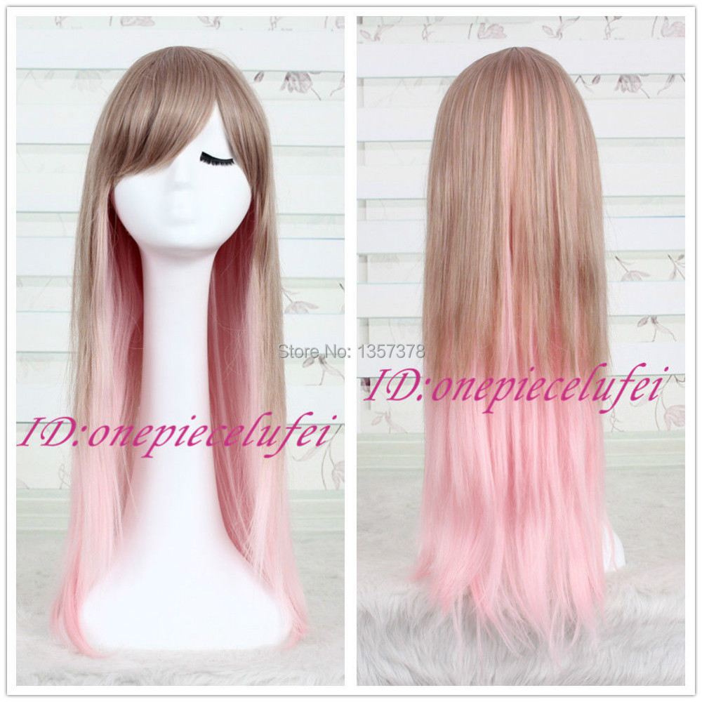 bjc 00477 Womens Lolita Hair Long Straight Full Wigs Cool Cosplay Party Wig Pink+Brown<br><br>Aliexpress