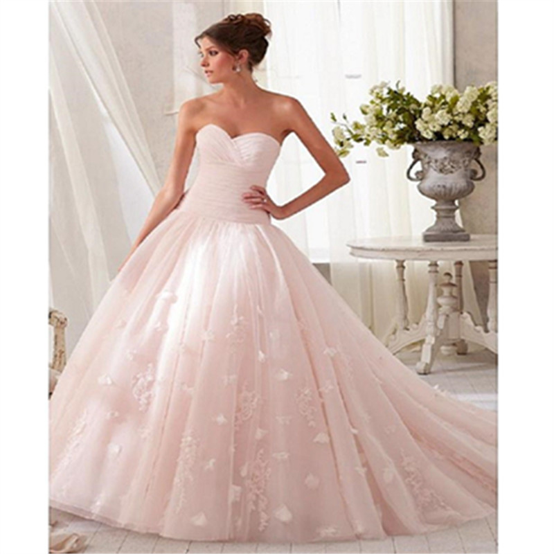 Real Sample Floor Length Sweetheart Off the Shoulder Applique Zipper Organza A-Line Court Train Cheap Wedding Dresses Pink(China (Mainland))