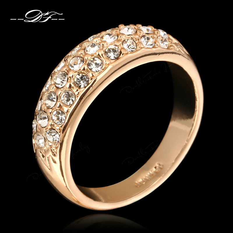 CZ Diamond Engagement Rings Wholesale Rose Gold Silver Plated Crystal Fashion