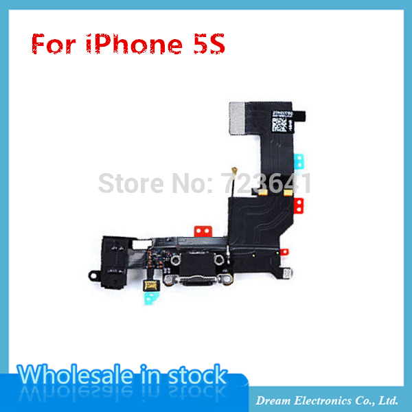 50pcs/lot New Charging Dock Connector flex cable for iPhone 5s headphone Audio Jack USB port flex cable wholesale(China (Mainland))
