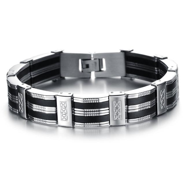 2016 новый Высокое качество мода человек подлинной силиконовый браслет из нержавеющей ...