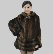 Factory direct supplier of 100% natural leather winter 2015 new women's fashion Slim mink coat female models thicker fur Hooded(China (Mainland))