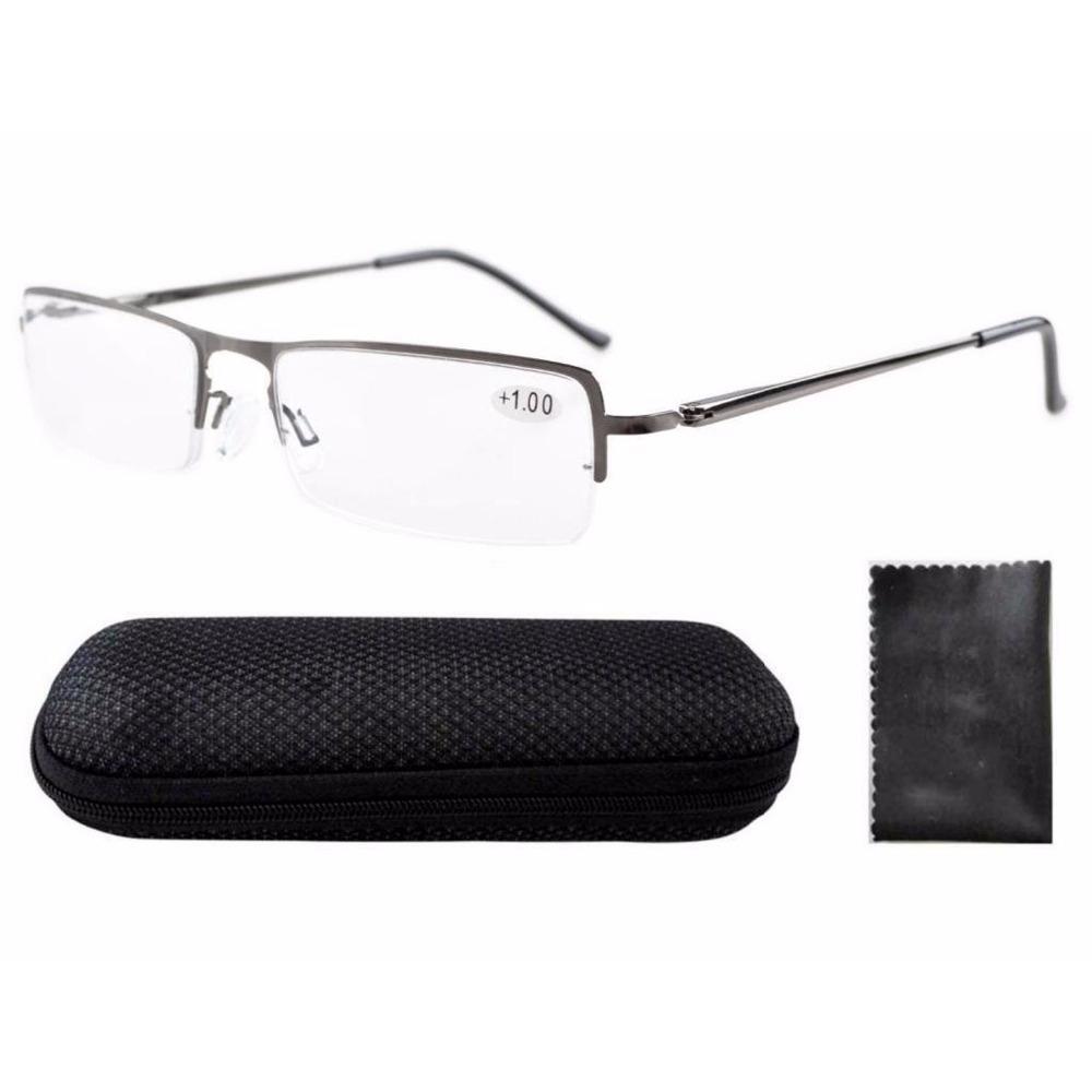 HR019 Polycarbonate Lens Lightweight Spring Temple Half-rim Reading Glasses +1.0/1.25/1.5/1.75/2.0/2.25/2.5/2.75/3.0/3.5/4.0