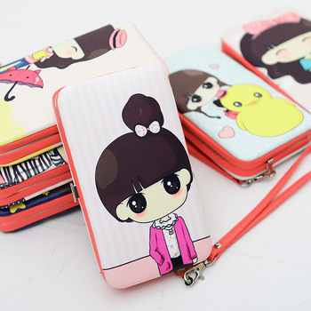 Cartoon lady long design children wallets women purses  fashion day Clutch purse card holder bolsas femininas