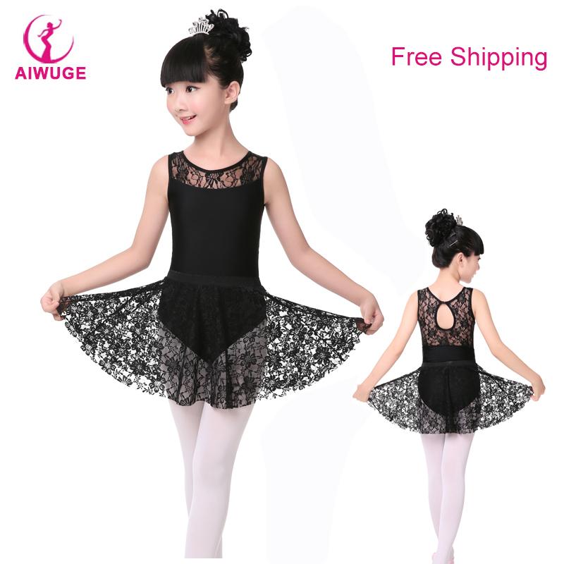 Girls Kids Black Gymnastics Leotards Dress Black Swan Ballet Dance Costumes With Lace Skirts(China (Mainland))