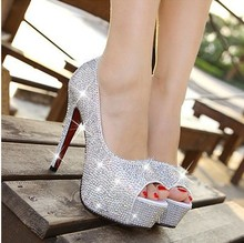 Sparkling rhinestone wedding shoes open toe high-heeled white single shoes women's party bridal shoes low price(China (Mainland))