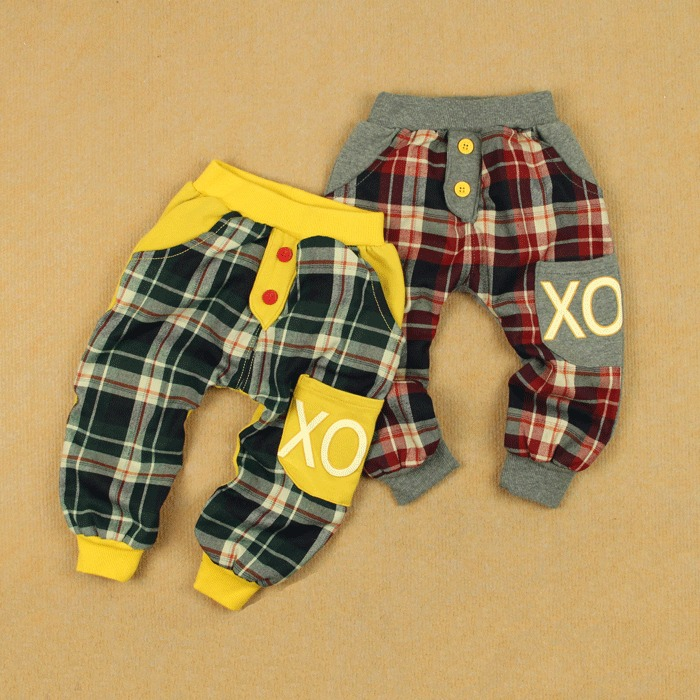 Plaid double layer knitted cotton big pp trousers loose leg male female child infant trousers openable-crotch ploughboys