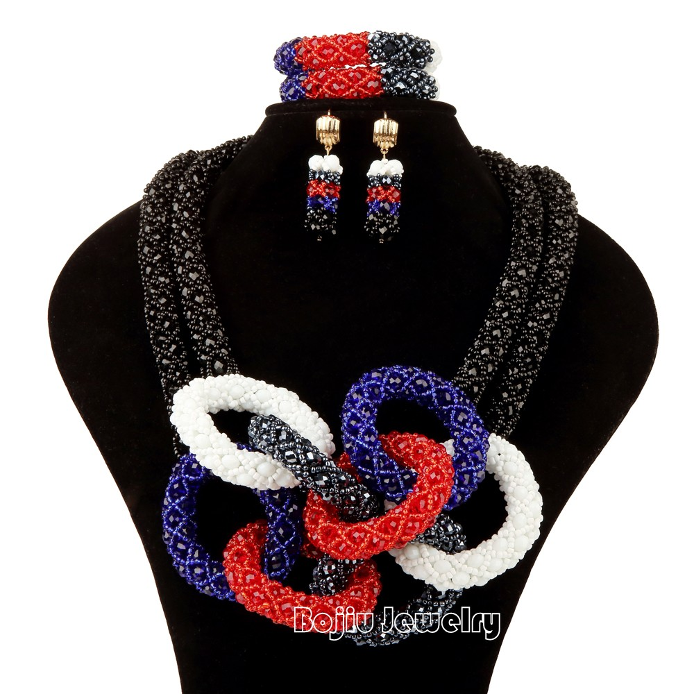 Nigerian wedding african beads double layer round big ring handmade multicolor jewelry set<br><br>Aliexpress