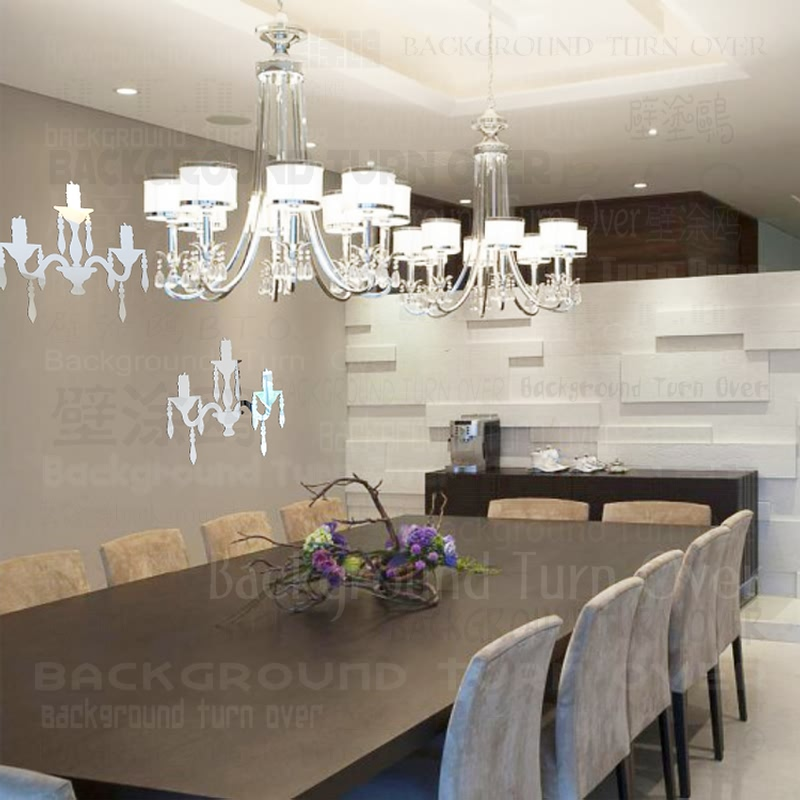 Free ship about home decor Creative European style chandelier vintage wall mirror stickers for dinning room restaurant  RMYK-035