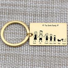 """Семейный Брелок с цепочкой """"Love"""" имя индивидуальный, для питомцев выгравировано 3 цвета для родителей подарок для детей подвеска для ключей с...(China)"""