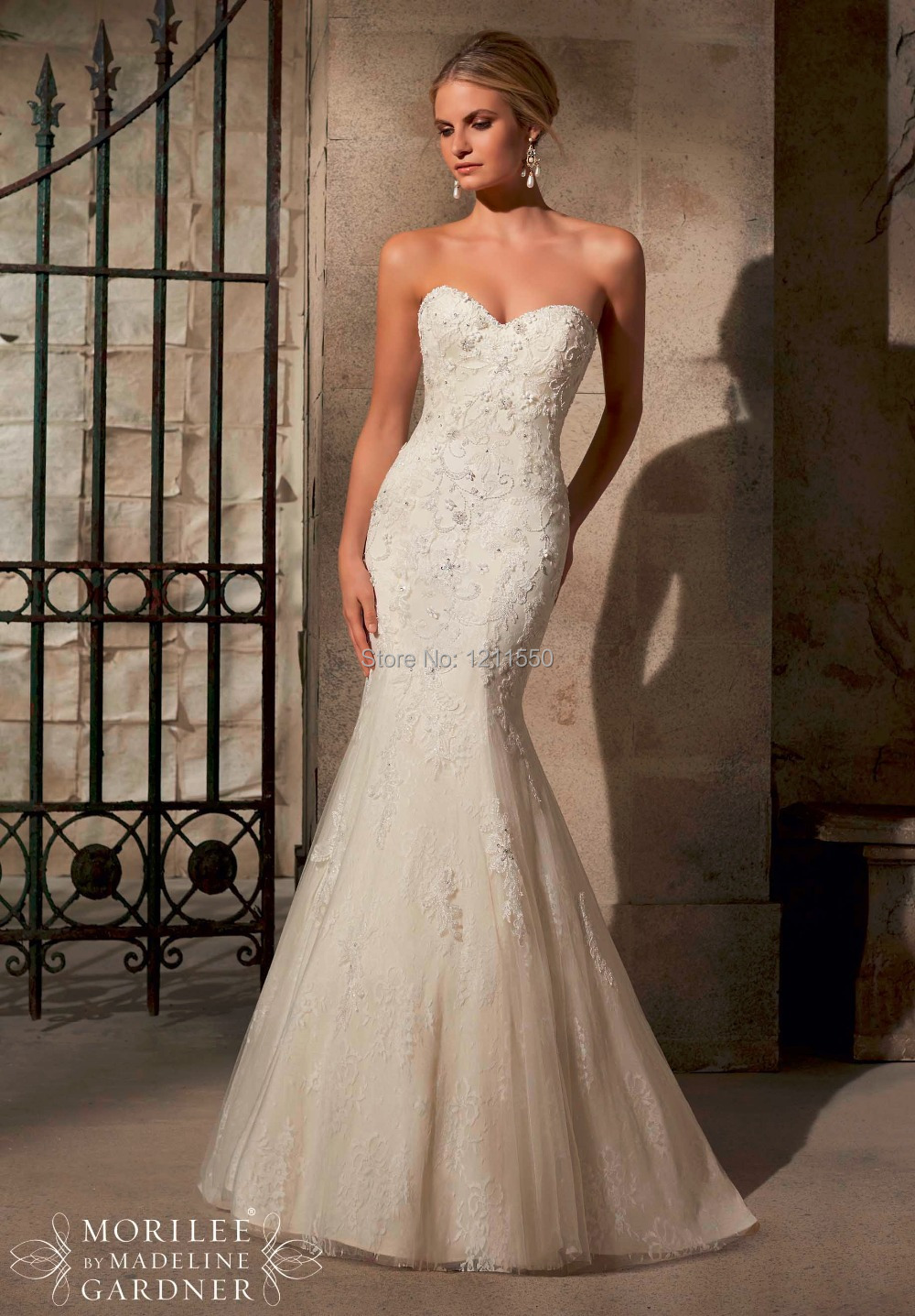 ca weddingdress wedding dress shop online Strapless Tulle Wedding Dress with Lace Applique Style WG