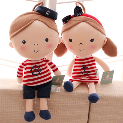 2PCS/set 50cm fever plush doll toy Lovely seashell son a couple toys navy boys and girls plush animal doll birthday gift(China (Mainland))