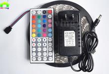 5 М 5050 СВЕТОДИОДНЫЕ Ленты 300Led SMD RGB Лента Лампа DC12V гибкая свет 44key ИК Контроллер 3A Адаптер Питания Полный Набор Ленты Освещения