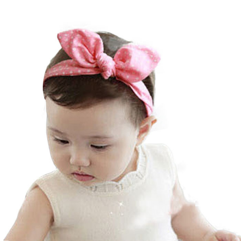 Novel design 2015 Lovely Baby Headband Fashion Bunny Ear Girl Headwear Bow Elastic Knot Headbands 1pc je27(China (Mainland))
