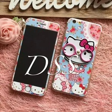 Eyes Glasses Standing Holder Kitty Tempered Glass Screen Protector For iPhone5 5s 6 6s 6plus Premium Toughened Protective Film