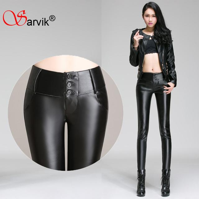 Продажа !! женщины высокой талии стрейч зима кожаные штаны 4XL 3XL женские брюки ...