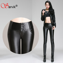 Sale!!women high waist stretch winter leather pants 4XL 3XL female skinny pencil pants plus size quality leather trousers ladies(China (Mainland))