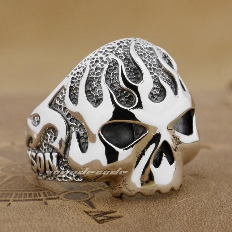 925 Sterling Silver Fire Skull Mens Biker Rocker Ring 8D006A US Size 8 ~ 13 - voguecode store