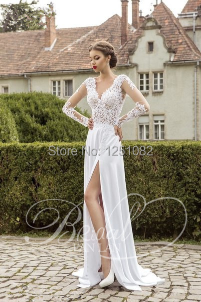 A Line Simple Lace Appliques And Satin Beach Wedding Dress