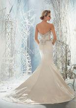 Custom Made Satin Applique Beading Crystal Strapless Lace Mermaid Wedding Dress Bridal Gown Vestido De Noiva