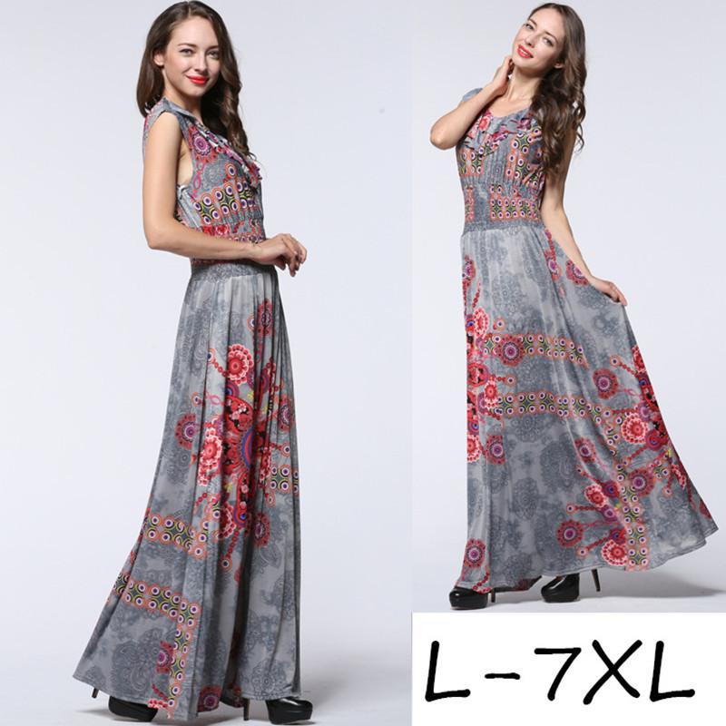 2016 New Women Summer Boho Maxi Long Dress Retro Vintage Sexy Floral Print Party Dress Plus size 6XL 7XL 7026(China (Mainland))