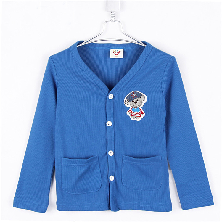 Spring And Autumn Child Clothing Boys Candy Color Bear Cardigan Girls Clothing Baby Kids Cardigan 0710(China (Mainland))