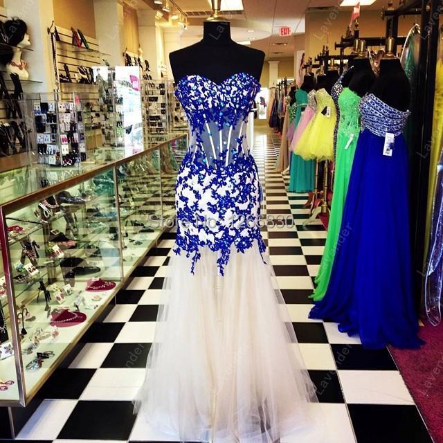 vestido de festa New Arrival 2015 Prom Dress Party Parfumes Women Blue Lace Nude Tulle(China (Mainland))