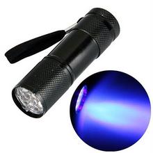 1Pc Mini Aluminum Portable UV Flashlight Violet Light 9 LED Torch Lamp Outdoor Camping Lights VCQ27 P15 0.5 - Huapengxin store
