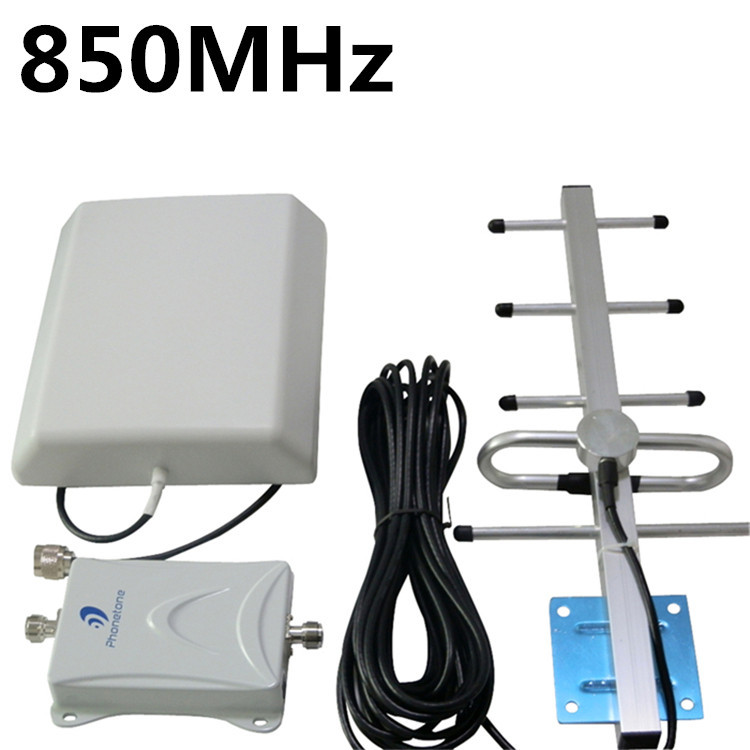 70db High gain 850MHz Mobile Phone Signal Booster Repeater GSM 3G Amplifier Kits Panel indoor+ Yagi outdoor Antenna(China (Mainland))