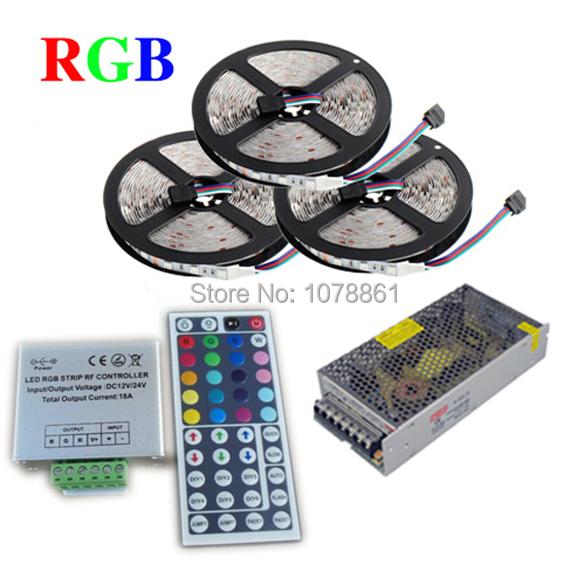15m IP66 waterproof led ribbon RGB smd 5050 led strip light 60led/m+ 44key IR Remote Controller+ DC12V 15A power Adapter(China (Mainland))