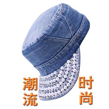 Pearl cap cowboy hat women's fashion cap personalized general lovers cap