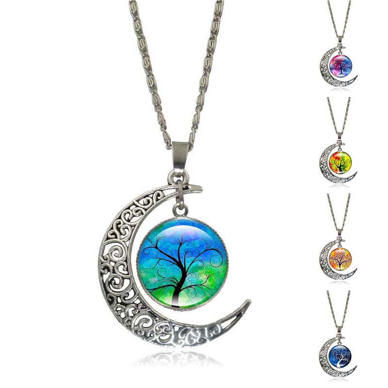 New 2016 Crescent Necklace Tree of Life Glass Cabochon Pendant Silver Half Moon Accessories Chain Necklace Women Gift(China (Mainland))