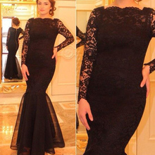 Real Image Stunning 2016 Black Lace Women Lady Gown Clothes vestidos  Mermaid Formal Evening Prom Dresses  Mother of the bride