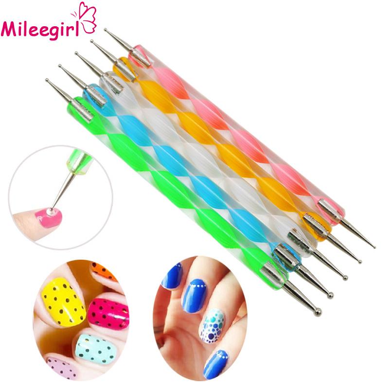 Mileegirl 5Pcs/Set Two-Way Dotting Pen Dotting Tools Marbleizing Painting Nail Art Tools