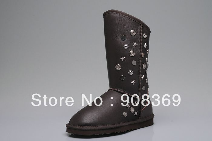 Int'l brand Genuine Metal Australia suede 100% wool lining 5838 Rivet snow boots for women with new security label original box(China (Mainland))