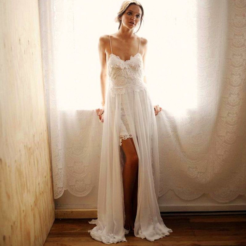 A line high size slit low back white light chiffon and for Spaghetti strap wedding dress low back